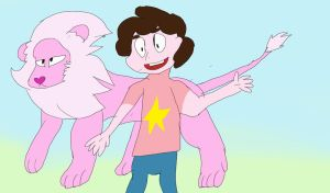 steven universe and lion  by Betheii