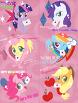 Mane Six Valentines by Musapan