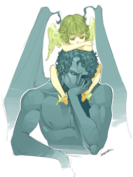 Icarus and Achilles by WhiteFoxCub