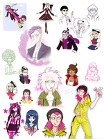 huge dangan ronpa artdump by soudas
