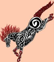 Tribal Horse Tattoo by bandeau