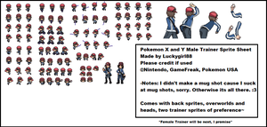 Pokemon X and Y  Sprite Sheet- Male Trainer by luckygirl88