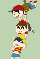 Ness, Villager and Lucas by Ca14