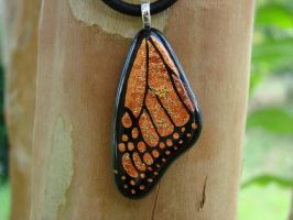 Golden Fused Glass Wing by FusedElegance