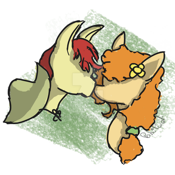 [FanArt]-[QS] Bright Macintosh and Buttercup by PokiPwet