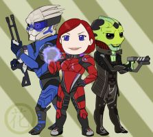 Chibi Gale Shepard Team by hanaraad