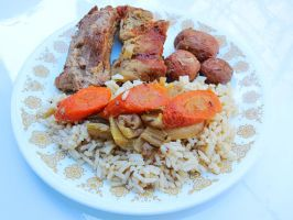 Slow Cooked BBQ Pork Ribs, Veggies with Rice by Kitteh-Pawz