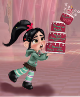 Vanellope - Wreck-it Ralph Anniversary Cake by artistsncoffeeshops