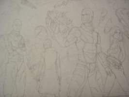Mass Effect 2 line art by celucrator