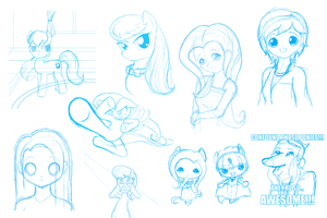 Pony-related Sketch Dump by Jdan-S