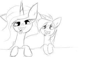 Jadey and Celestia being silly by derpy11