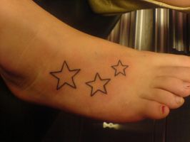 Black lined stars on foot by Shipht