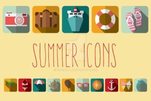 Summer Vacation Flat Icons by BlueLela