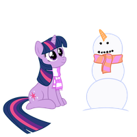 Twilight Sparkle with Snowman by LikeMike213