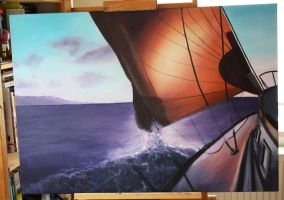 Sailboat and wave WIP 01 by corienb
