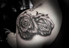 Roses and Numerals Tattoo by t-o-n-e