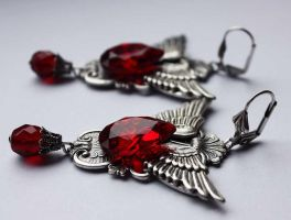 Vampire bloody drops earrings by Pinkabsinthe