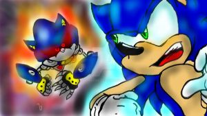Sonic Vs Metal Sonic by InvdrScar