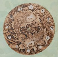 Wood pyrography clock by Gatc