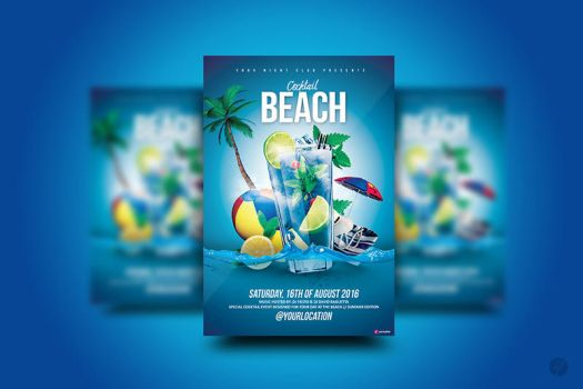 Beach Cocktail Flyer by YczCreative
