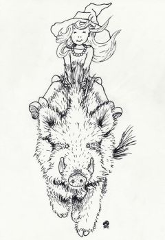 Boar-Riding Little Witch by songgryphon