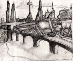 Cityscape with monorail by rabidrabi