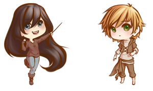 Chris And Serenity Chibis by Lunalli-Chan