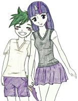 Spike and Twilight Sparkle by iliowahine