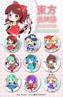 Touhou Fuujinroku ~ Mountain of Faith - button set by Ninamo-chan