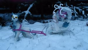 Icecat and elf on a sleigh by Likopinina