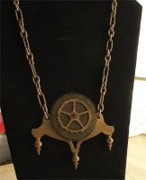 Huge Clock Parts Necklace by asunder