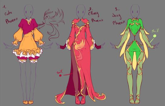 Outfits adopts 5 - Paypal Auction - CLOSED by rika-dono