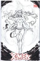 X-Men sketch Cover with Dark Phoenix BW by Danielleister