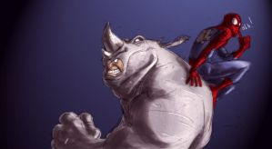 Spidey n Rhino by dcjosh