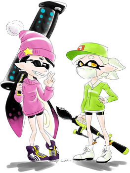 Splatoon_Agents 1 and 2 on duty by Chivi-chivik