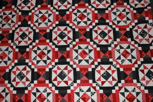 Red, Black, and White Quilt by Thy-Darkest-Hour