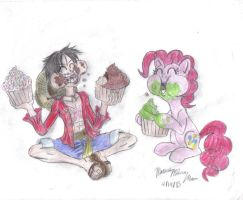 Pirate and Pony Duo: Luffy and Pinkie by SemiJuggalo