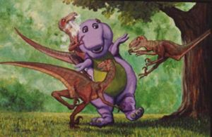 Barney vs. the velociraptors by artgent