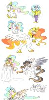 The many faces of Princess Celestia by Ghost-Peacock