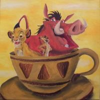 The Lion King in Tea Cup by billywallwork525