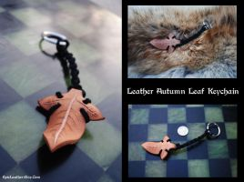 Leather Autumn Leaf Keychain by Epic-Leather