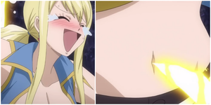 Fairy Tail Lucy belly button tickled by bellybuttonfan