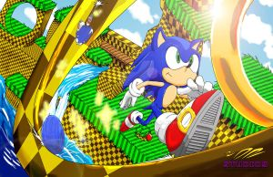 Sonic in Green Hill Zone by DR-Studios