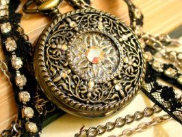 Black Lace and Crystals Pocket Watch Pendant by LeBoudoirNoir