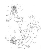Commission: Aeya + Hellena Go Scuba Diving by KeeperOfCoffins