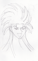 Ryoko of Tenchi Muyo portrait rough sketch by NocturnalRadiance
