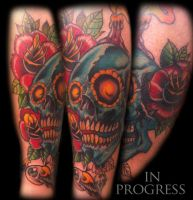 In progress skullroseeyeballcolors by WillemXSM