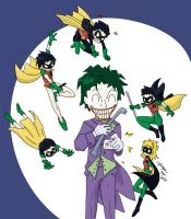 Five Robins + the Joker by Yanguchitzure