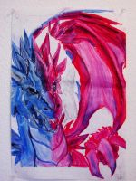 Blue-red dragon by Gintara