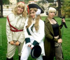 Hetalia day - Strong female trio by SakurahimeArt